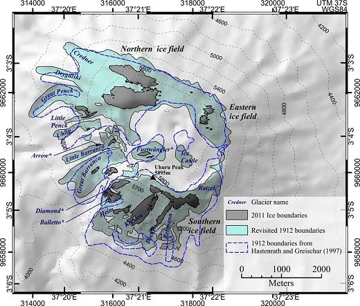 Kilimanjaro Glacier Map - 1912,