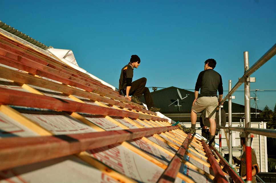 Exposed roof battens before beginning solar installation.
