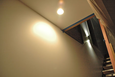 SmartBright downlight and Ledino wall light above the stairs.