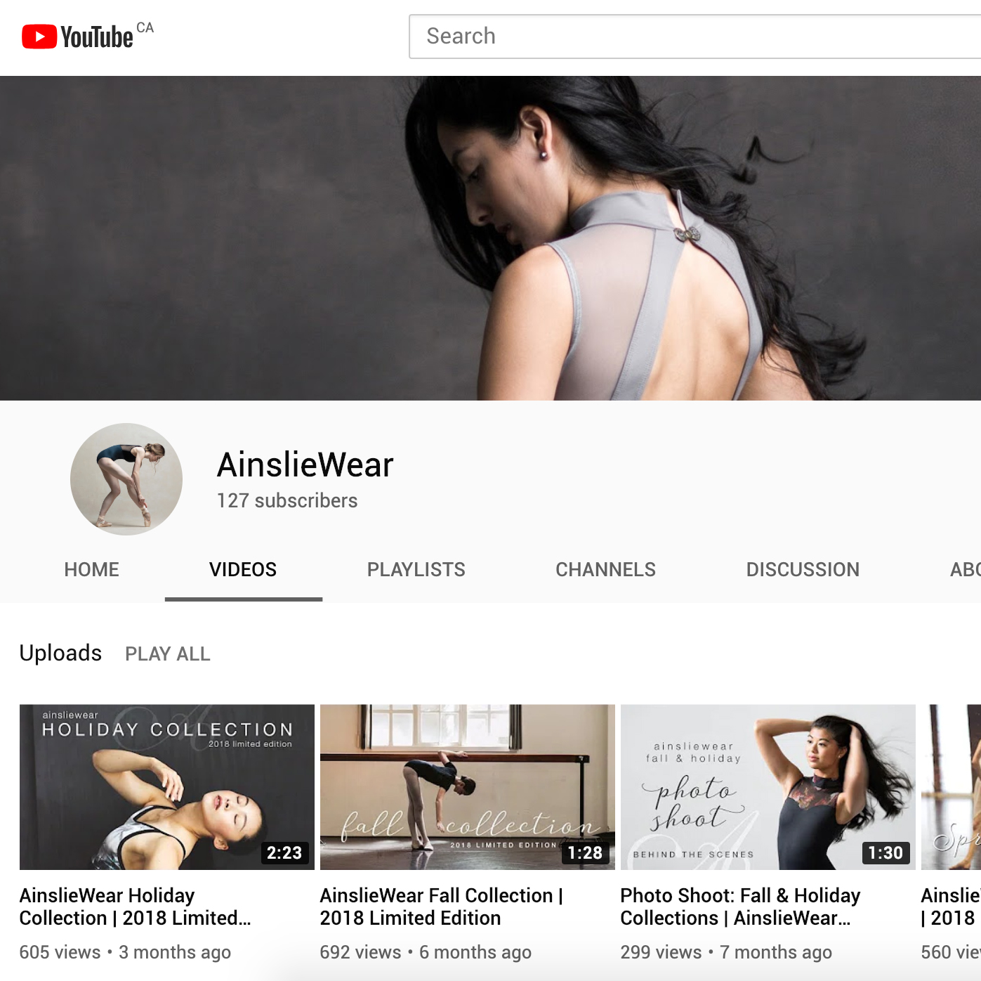 AinslieWear YouTube Channel - Video can be a powerful way to showcase your brand to prospective customers.Having run my own YouTube channel for some time, I was delighted to create something special for AinslieWear. Dance is movement and as a dancewear brand, video seemed like the perfect fit for AinslieWear.I launched AinslieWear's YouTube channel in early 2017 to better showcase their beautiful products and the people behind them. Videos featuring collaborations with aspiring and professional dancers, collection sneak peeks, and photo shoot behind the scenes, have assisted in sharing the AinslieWear brand with a wider audience.