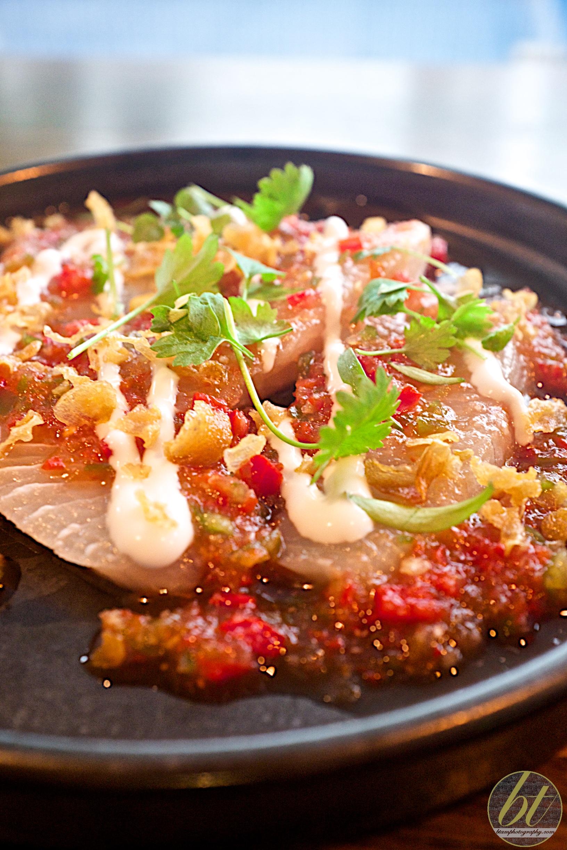 Kingfish sashimi with nam jim and coconut ($12)
