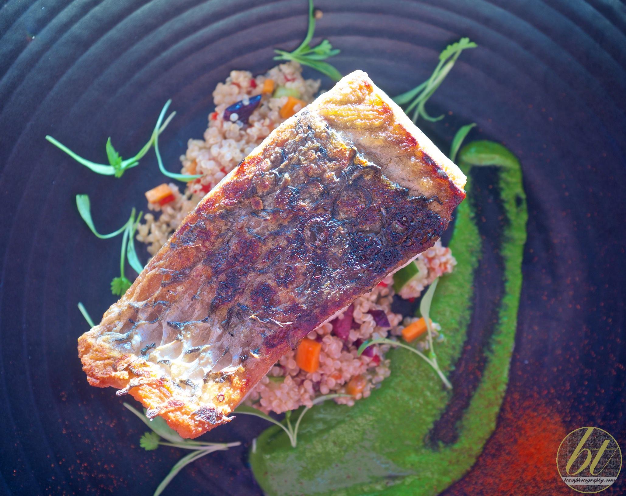 Barramundi with quinoa salad, cucumber, carrot, black olive and cilantro pesto ($32)