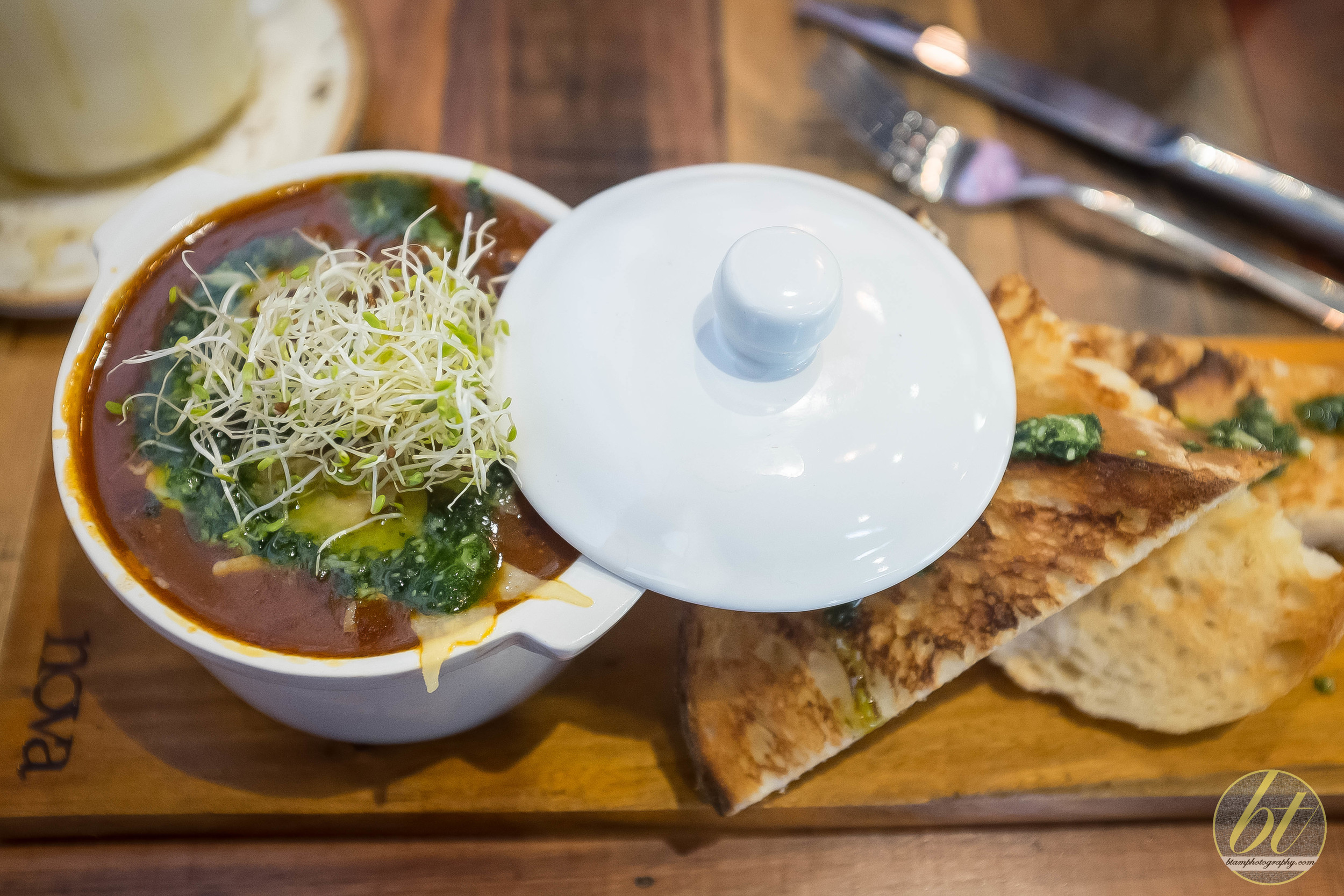 The Cheeky ($19) - Slow cooked beef cheeks, black eyed beans, poached egg, crusty bread, kale pesto