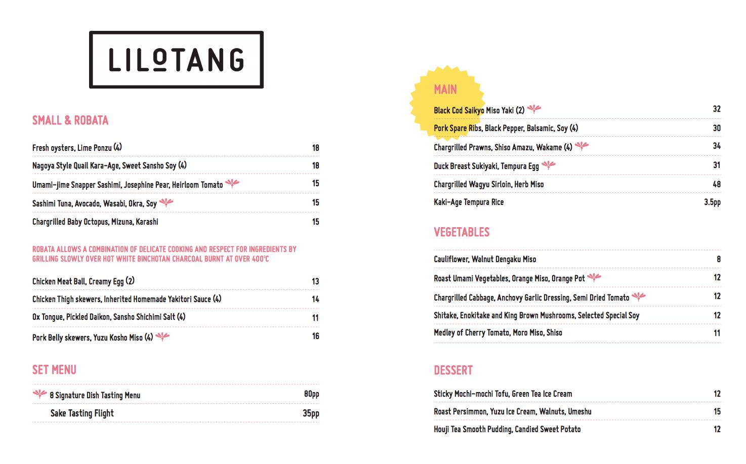 LiloTang, Barton - menu