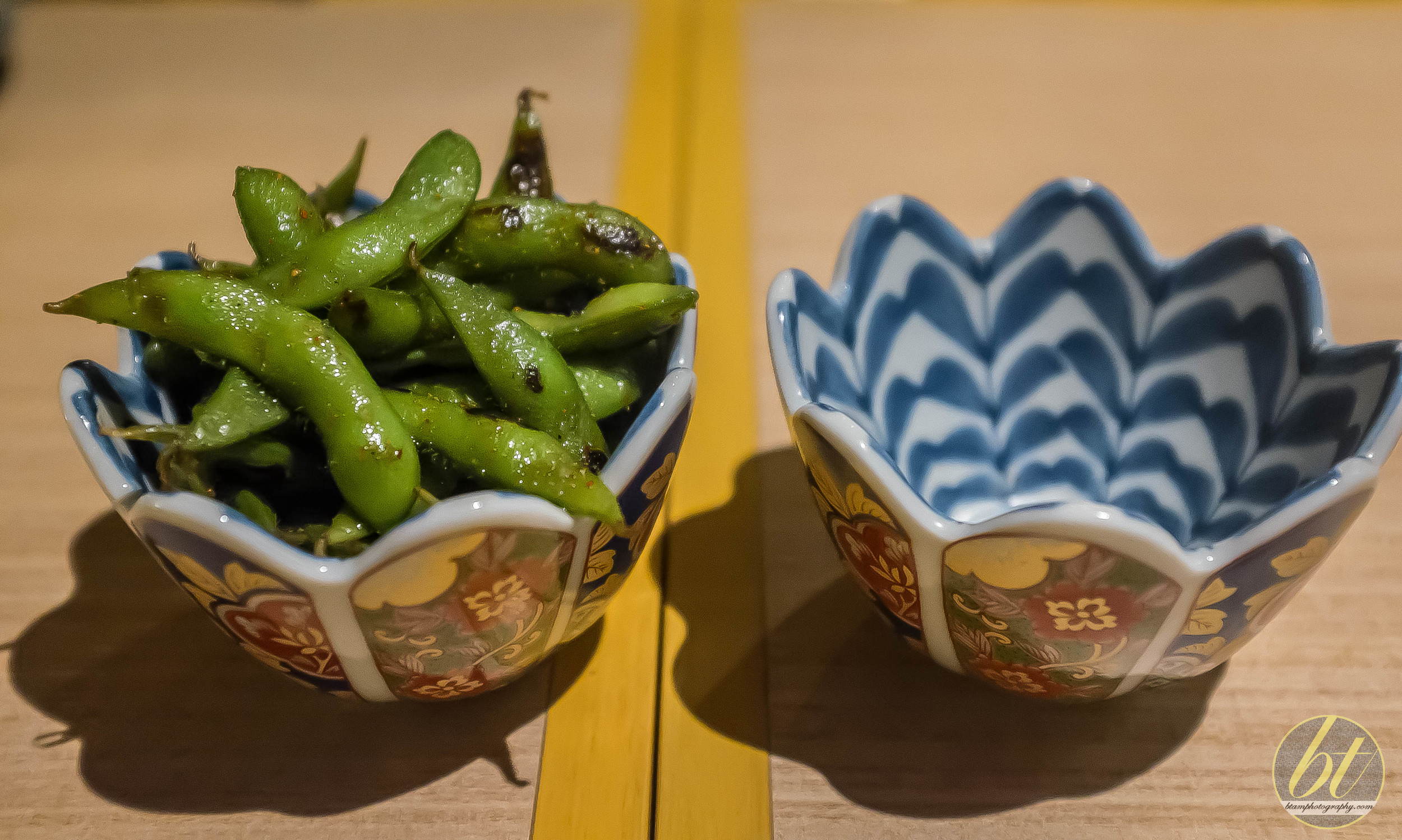 Edamame with soy and Japanese chili