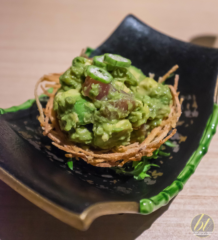 Sashimi Tuna, Avocado, Wasabi and Okra