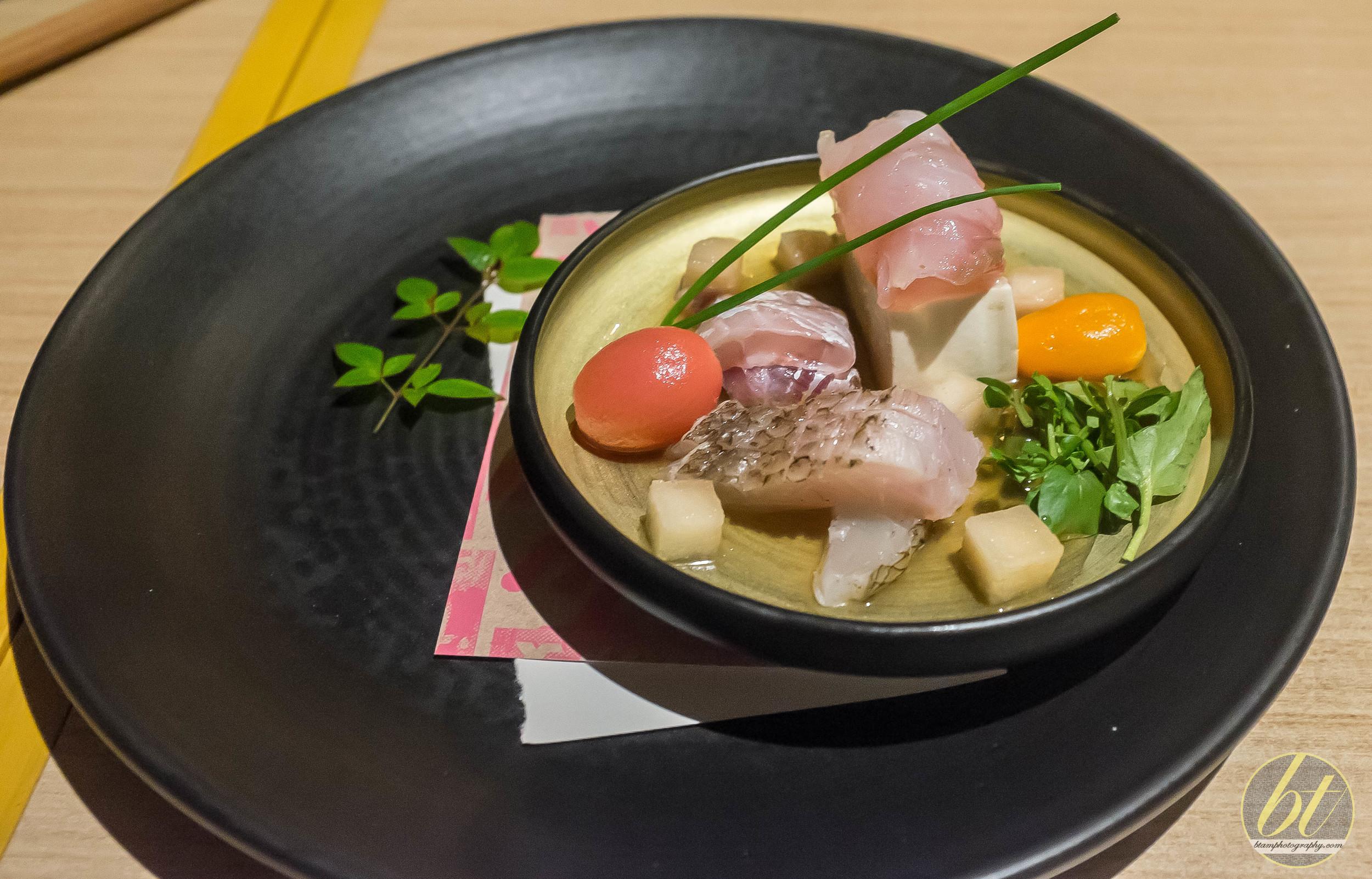 Umami-jime Snapper Sashimi, Josephine Pear and Heirloom Tomato