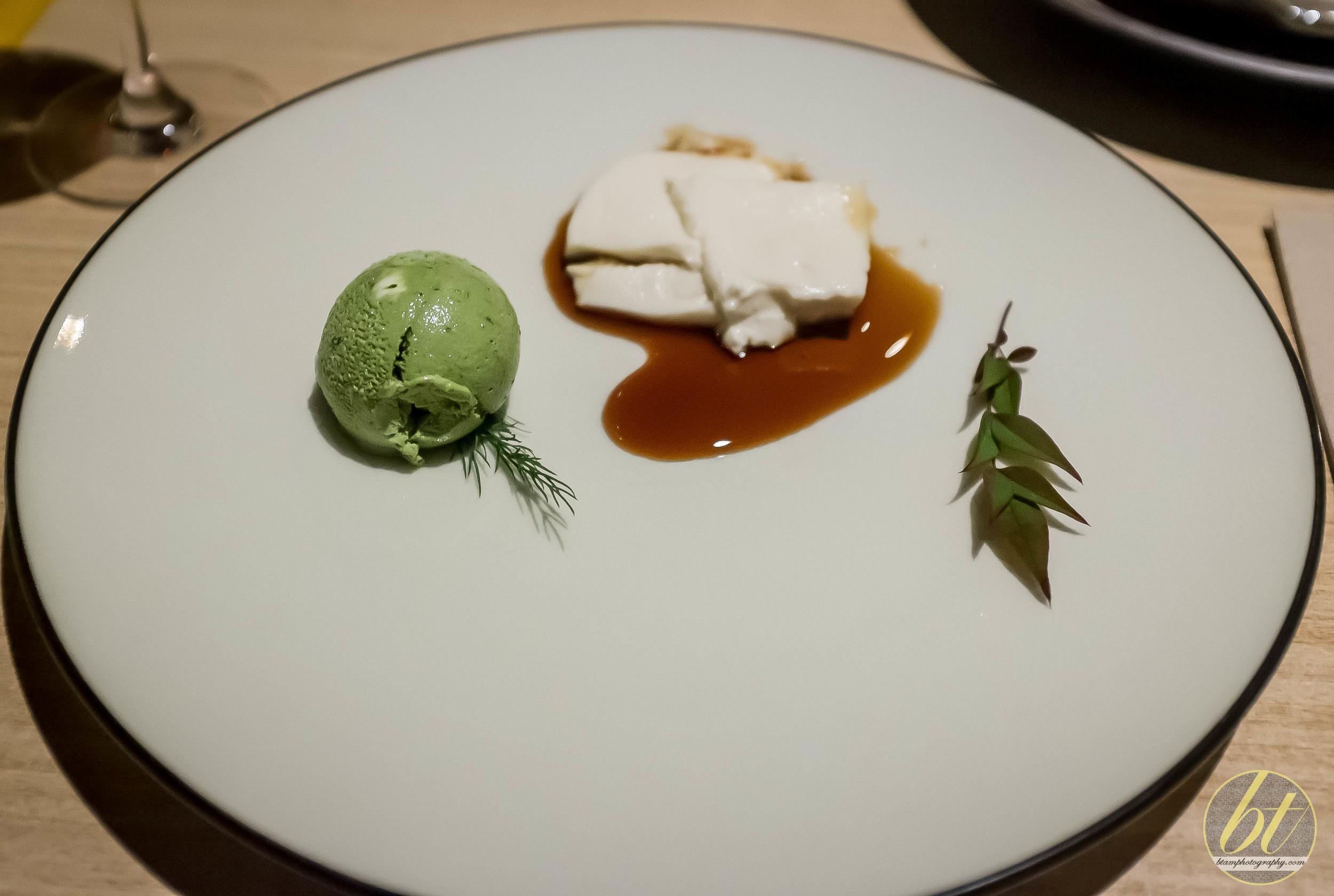 Sticky Mochi-mochi Tofu with Green Tea Ice Cream