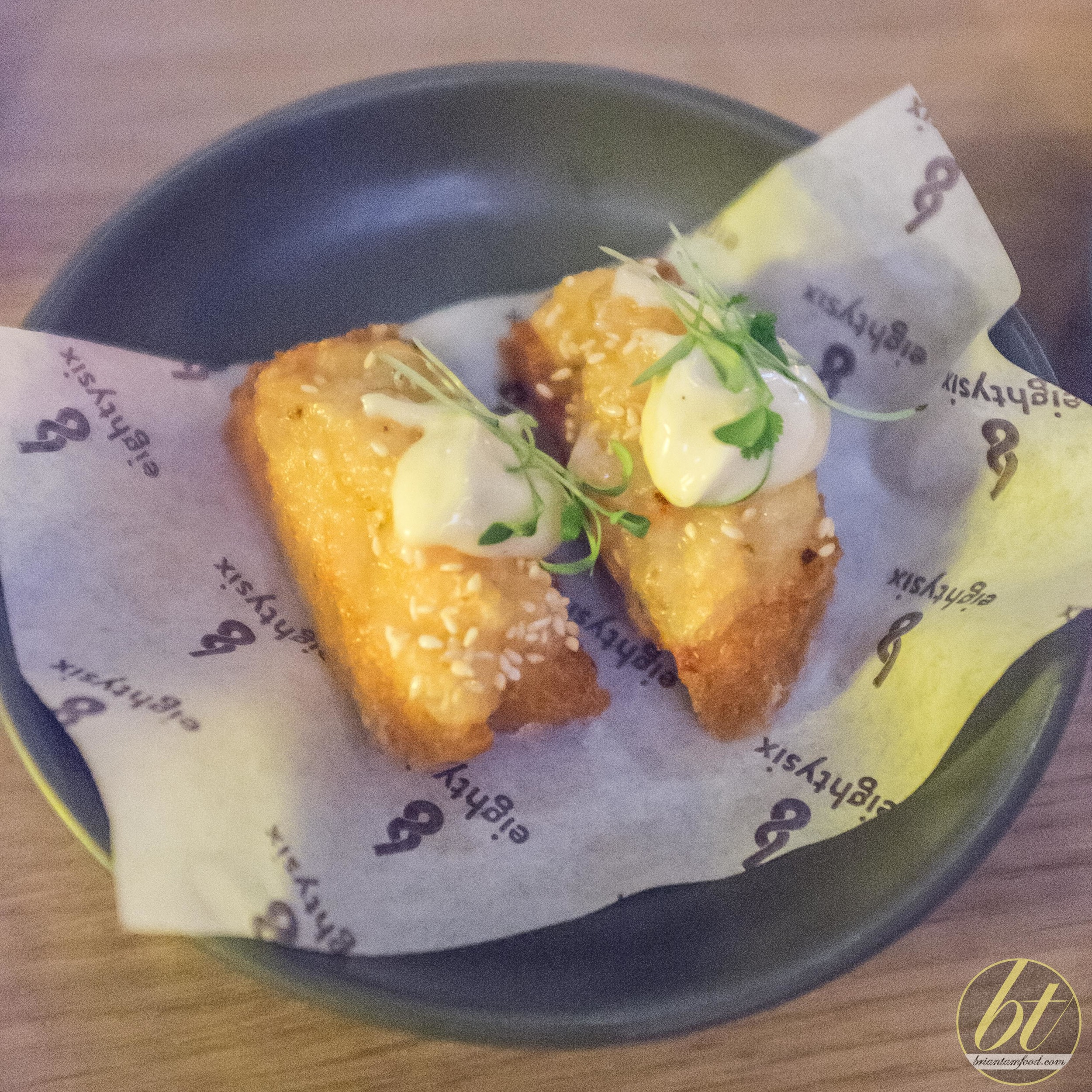 prawn toast with yuzu mayonnaise