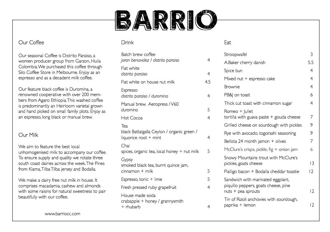 Barrio Collective Coffee Braddon Menu