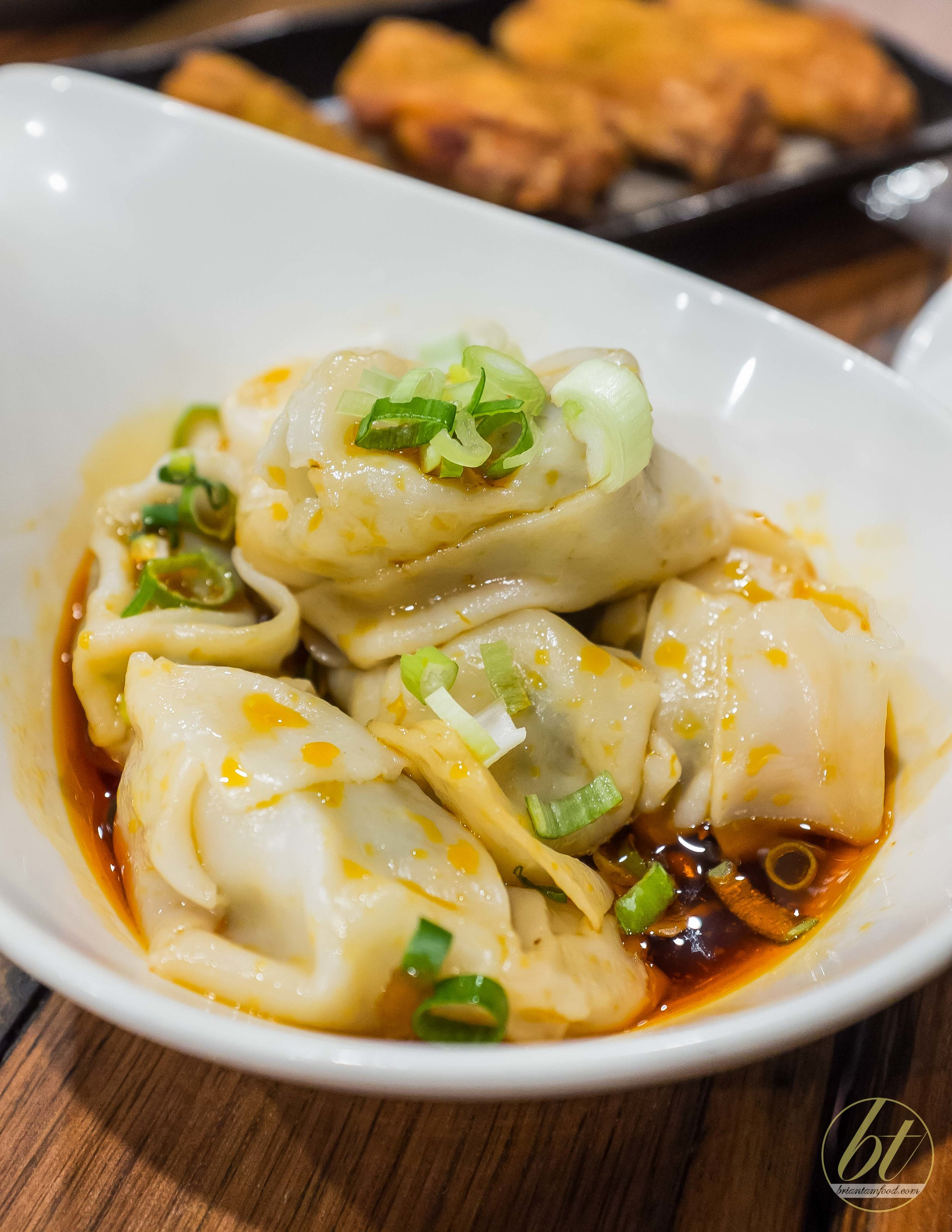 Wontons with Chilli Sauce, ($8.80 for 6)