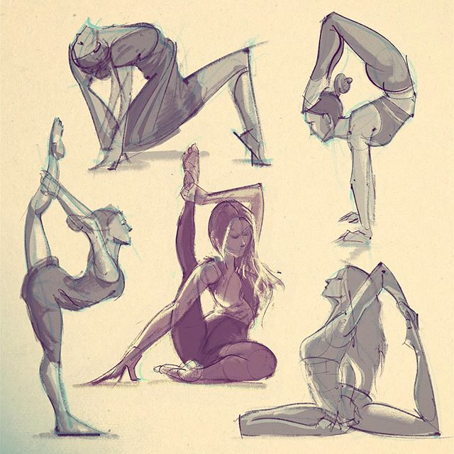 Yoga Gestures. These are super challenging, as my brain doesn't initially know how to translate the figure on paper with such extreme poses! Thanks @aminahtaha for the inspiration! 😌🙌