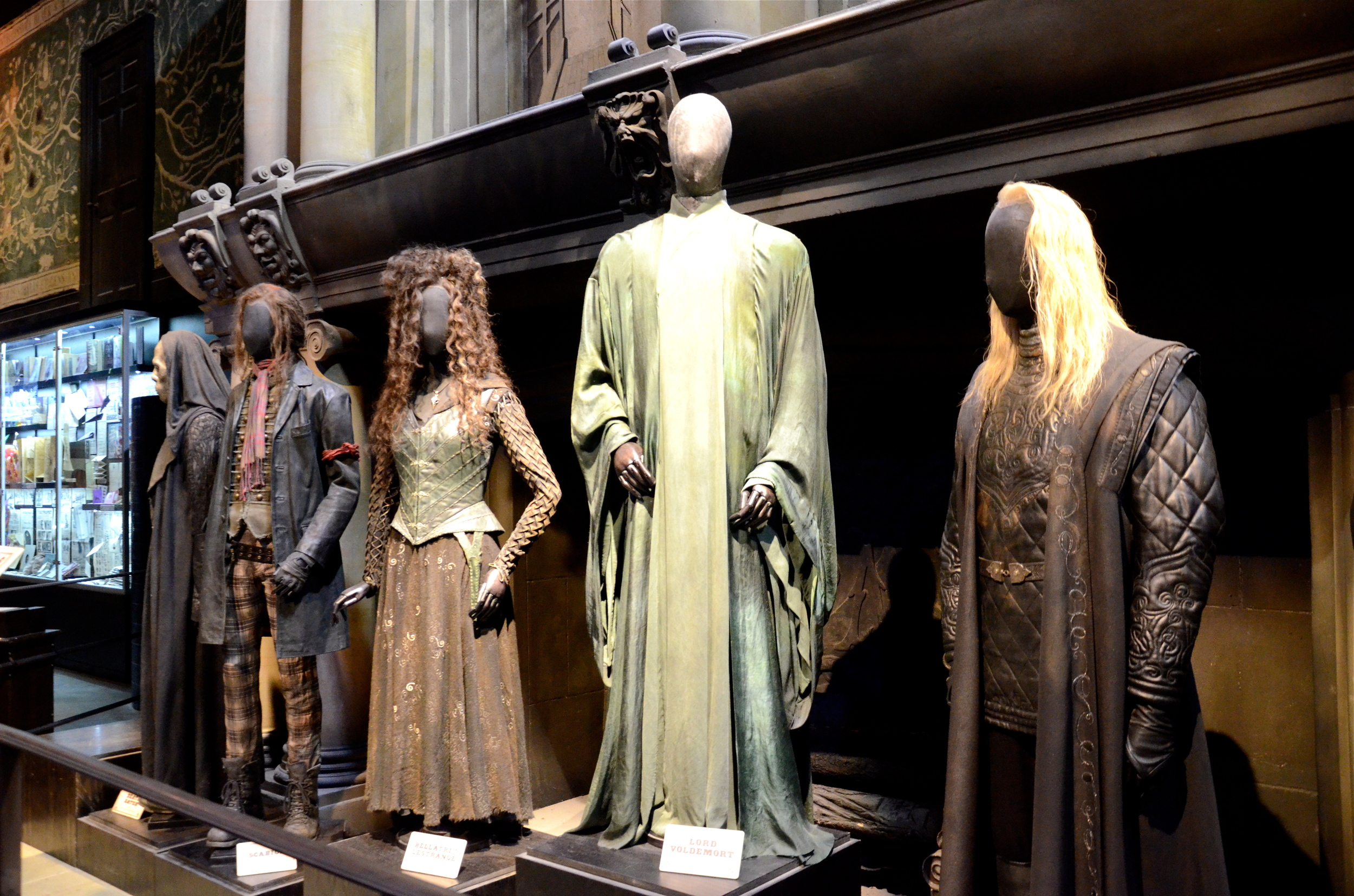 """We visited the Harry Potter Studio Tour in February. I had to take a picture of the """"bad guys"""" from an angle to fit most of them in."""