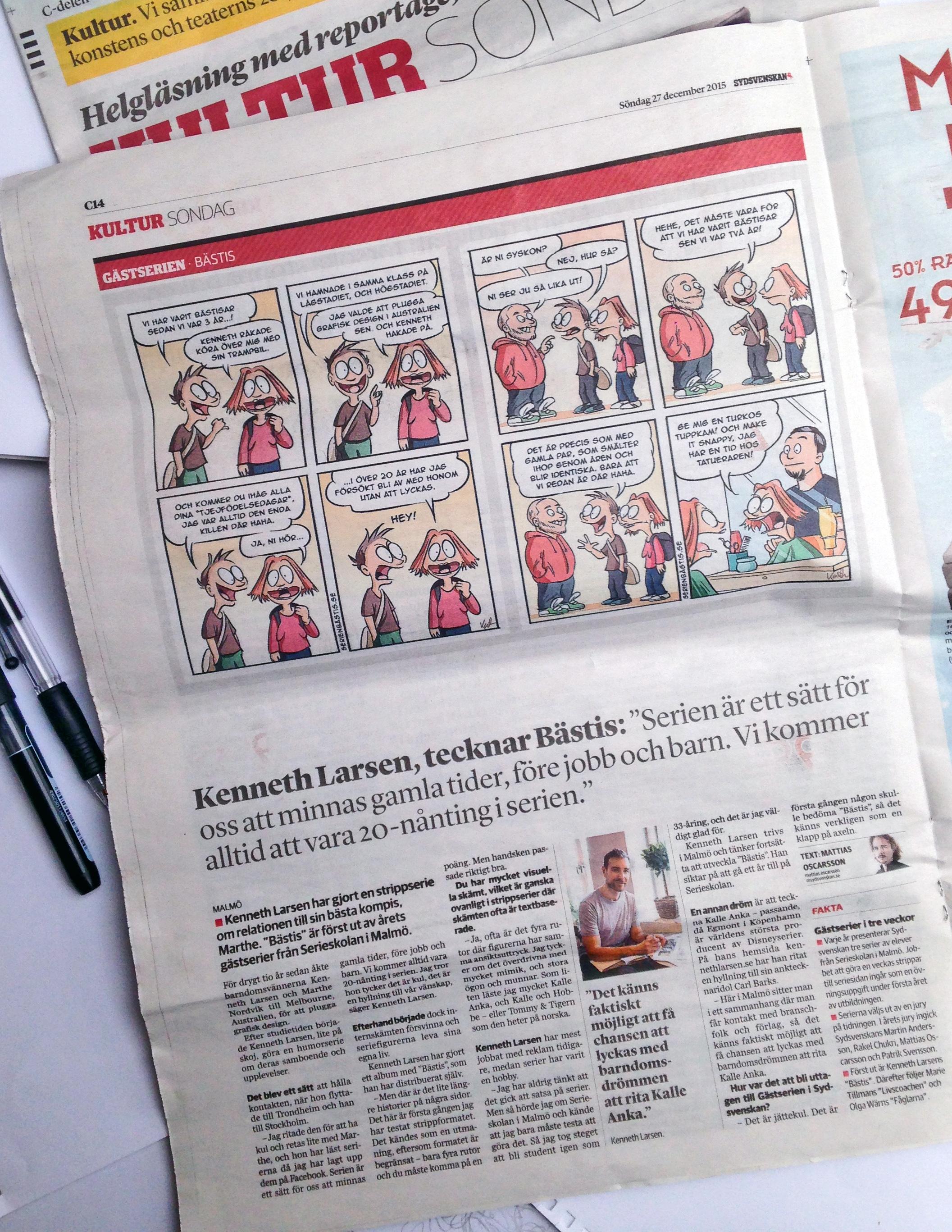 Intervju i Sydsvenskan, 27. desember 2015.