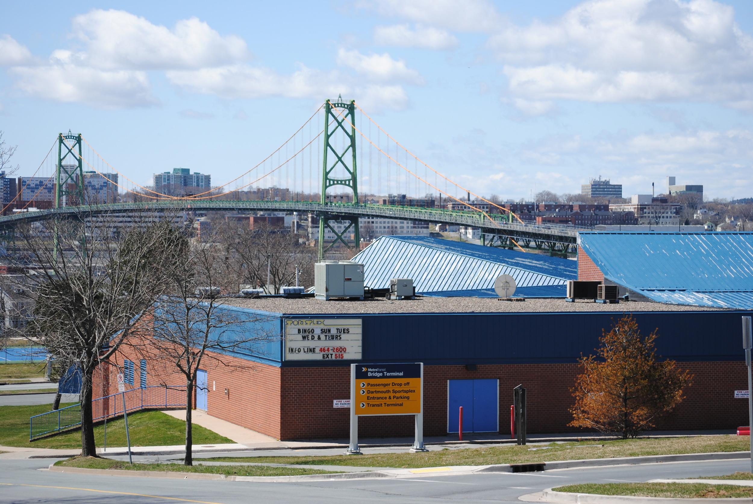 Dartmouth Sportsplex and the MacDonald Bridge from the Dartmouth Commons Area