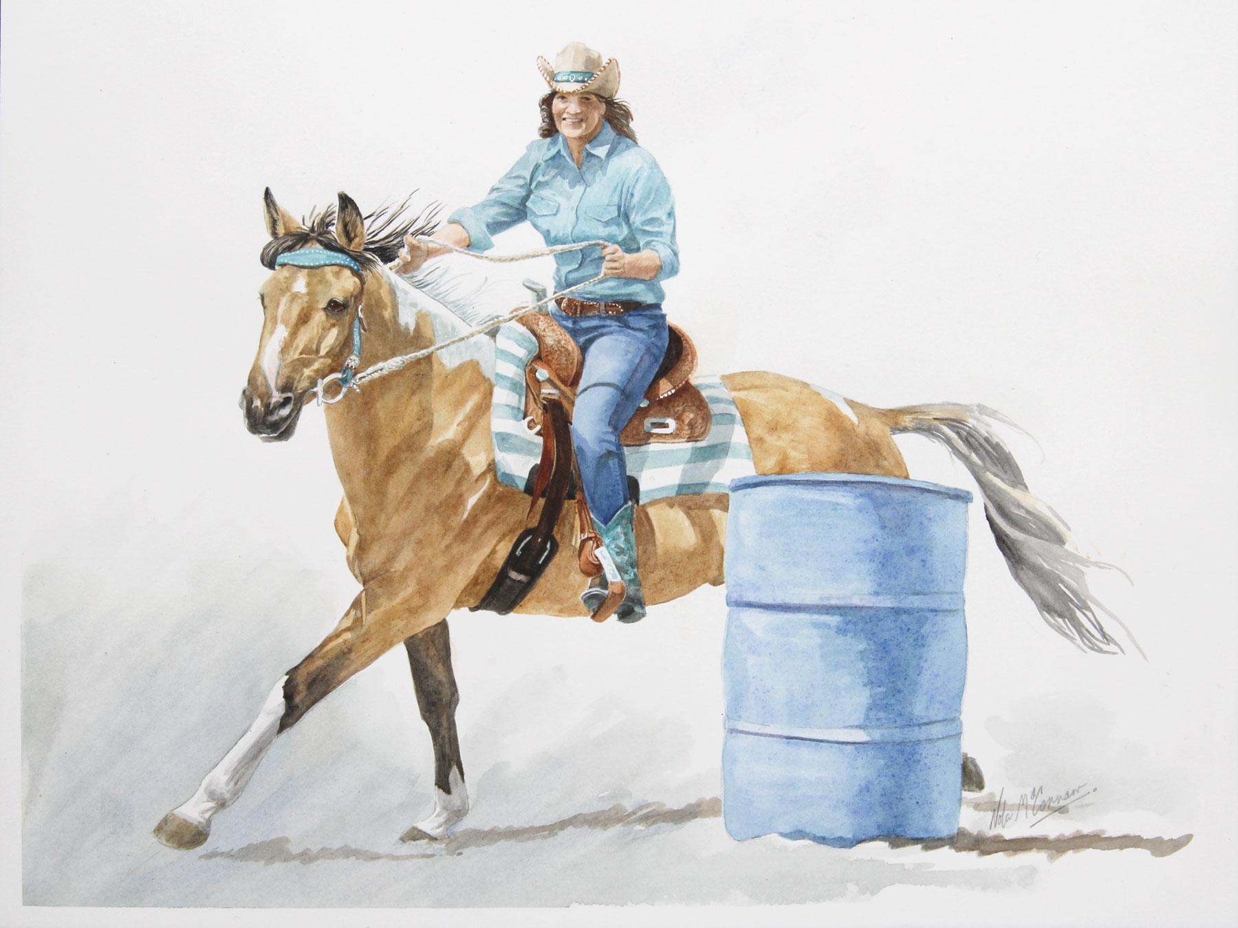 "Isabel & Buckshot, In Full Flight 12"" x 16"" watercolour"