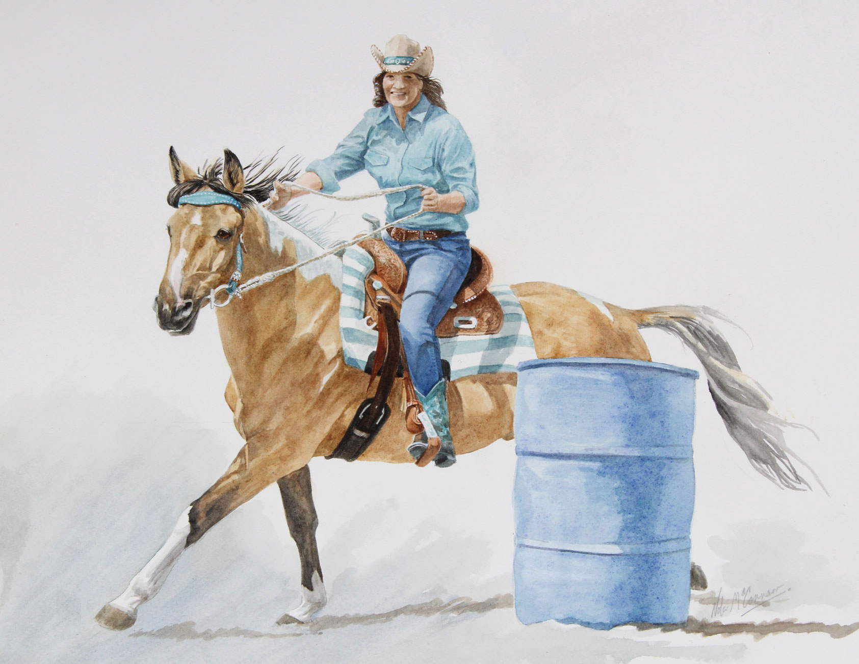 "Isobelle & Buckshot 11 x 15"" watercolour"