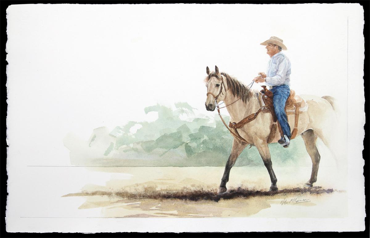 """Ross Miller & Frosty the Buckskin  15"""" x 22"""" watercolour"""