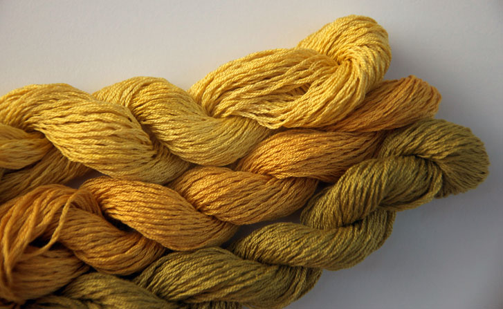 Naturally-dyed skeins of #5 silk/cotton thread
