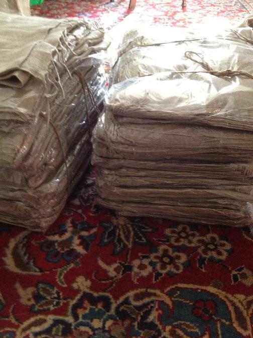 Bagged linen scarves