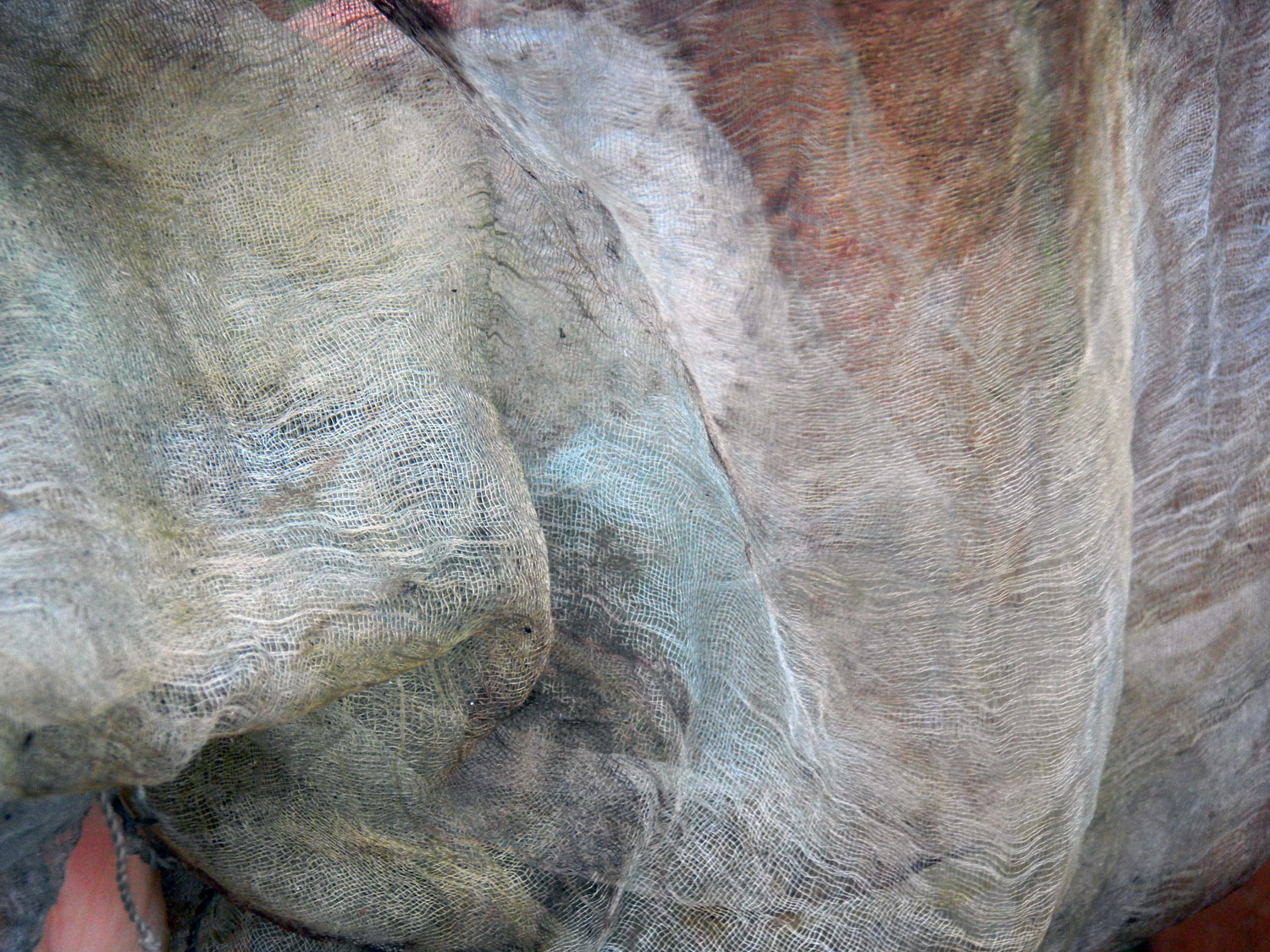 Super soft silk scarf, barely eco-dyed...