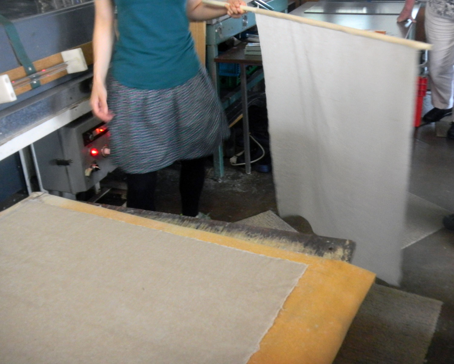 Kozo paper pulled after being pressed