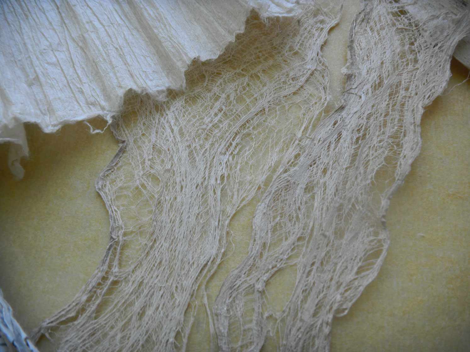 Aimee showed us how to make paper-lace. This is her sample.