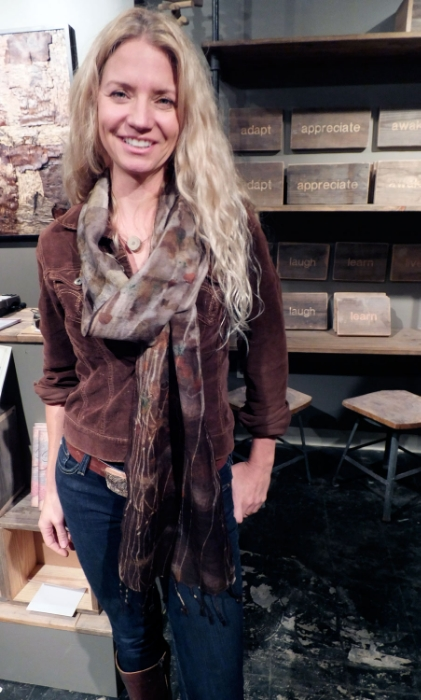 Susie Frazier wearing one of my fine wool gauze eco print scarves.