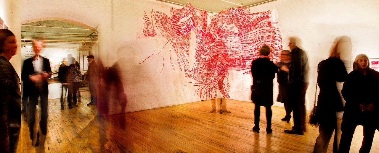 Time Lines, 2014, C. Mauersberger. Image from the opening reception on Feb. 21, 2014. Photo: Steve Wagner.
