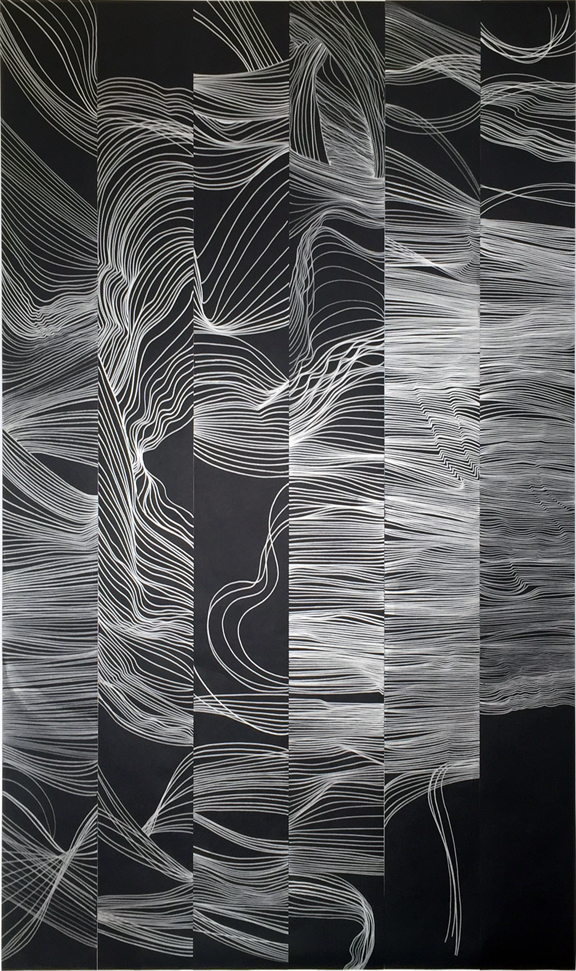"Strings, silver pen on black paper. Each piece is 6"" wide by 60"" long, Final piece is 36"" wide x 60"" long. ©Christine Mauersberger, 2015."