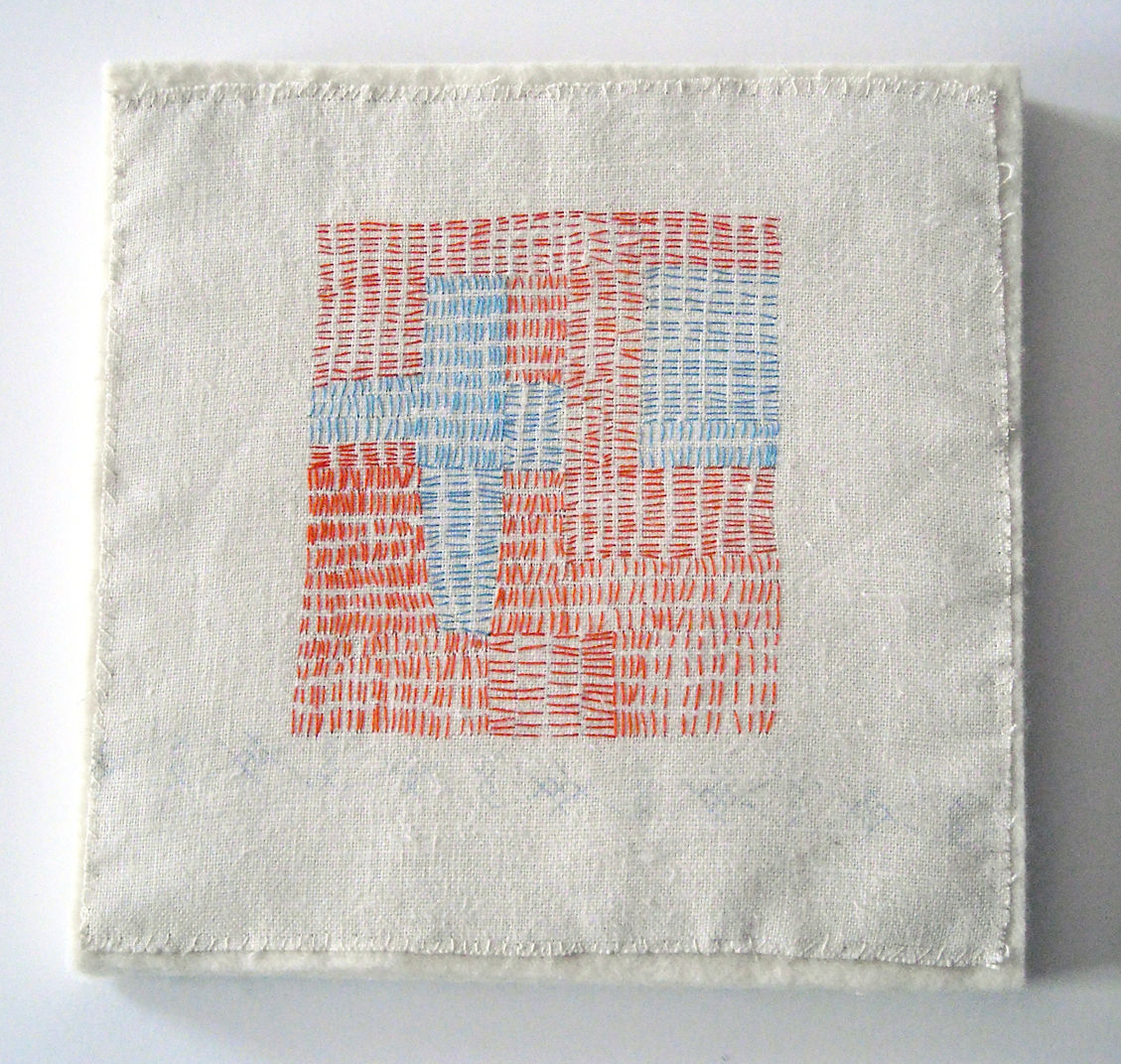 "Crossroads, 2007, hand stitched on vintage linen, 9"" x 9"" mounted on 1/2"" thick wool felt"