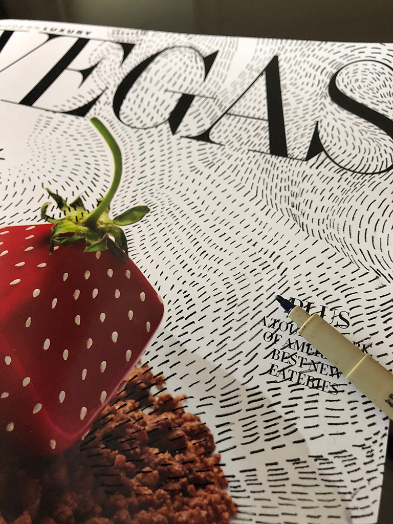 Short lines on cover of a luxury magazine.
