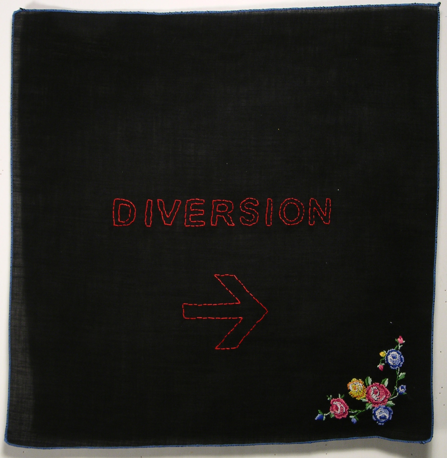DIVERSION, 2007  First piece of hand stitching on a found handkerchief.