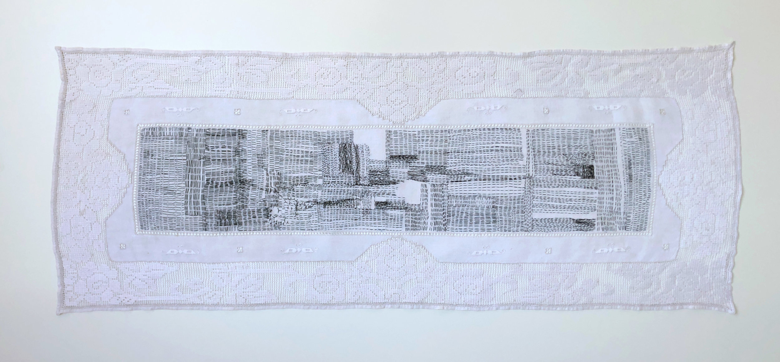 "DRESSER SCARF, 2018. 40"" X 15"" Hand stitched using single strand DMC floss."