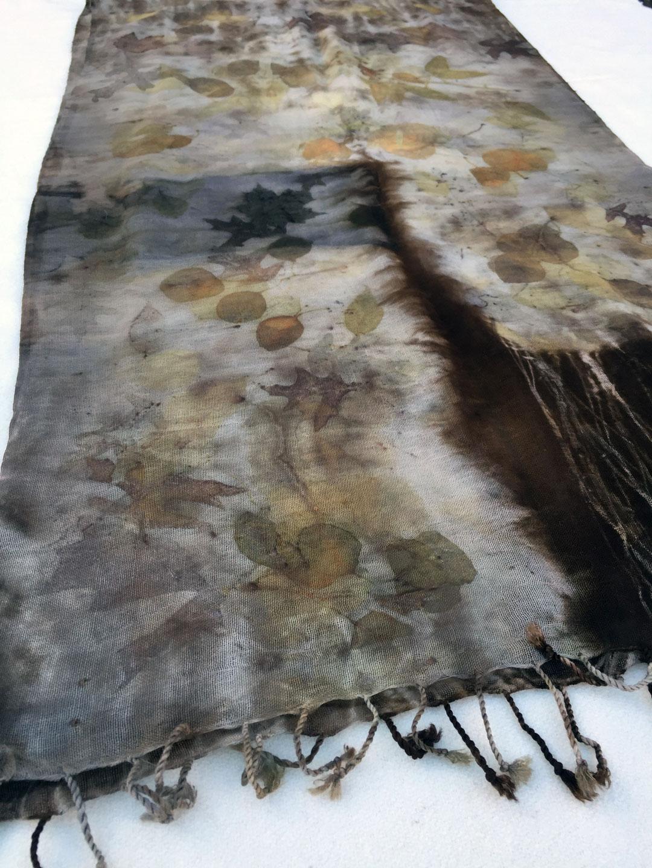 Sample eco print on wool scarf