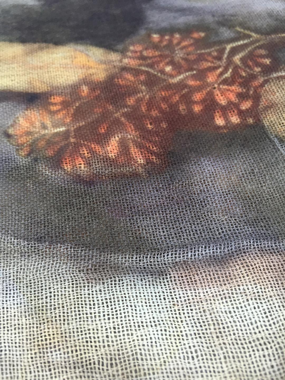 Detail, eco print on wool