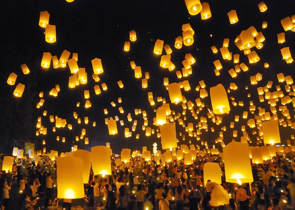 People release lanterns and   float decorations on rivers   in Chiang Mai, Thailand as part of the an annual celebration.