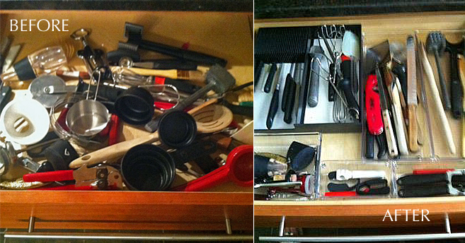 """My kitchen drawers were a MESS! Every single one of them looked like this! Laura measured each one, went shopping and found the appropriate bins and containers for knives, openers, and other tools, and made a place for everything . It's easy to stay organized when you know exactly where your belongings 'belong' "" - M. M."