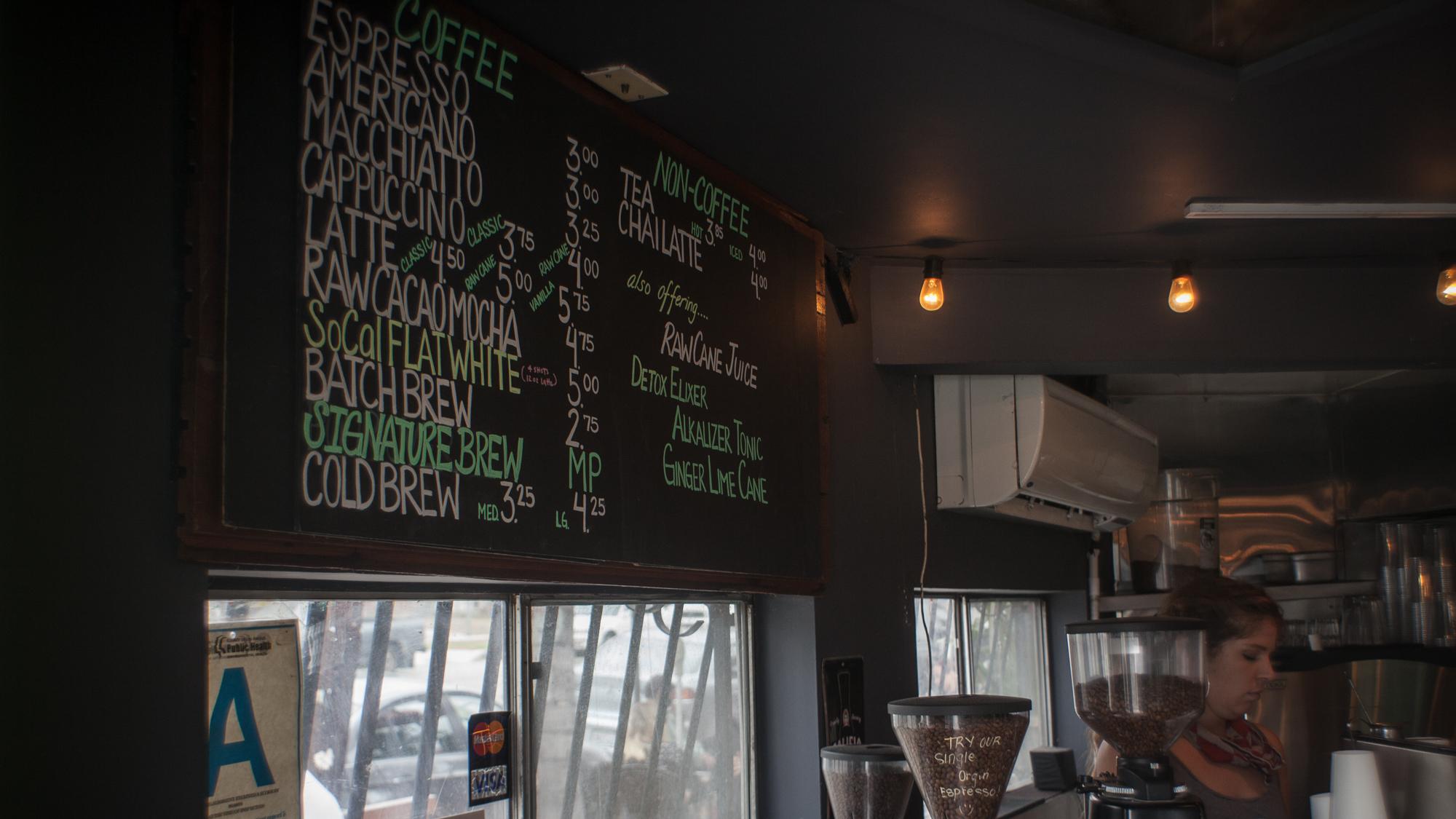 Cafecito Organico Menu