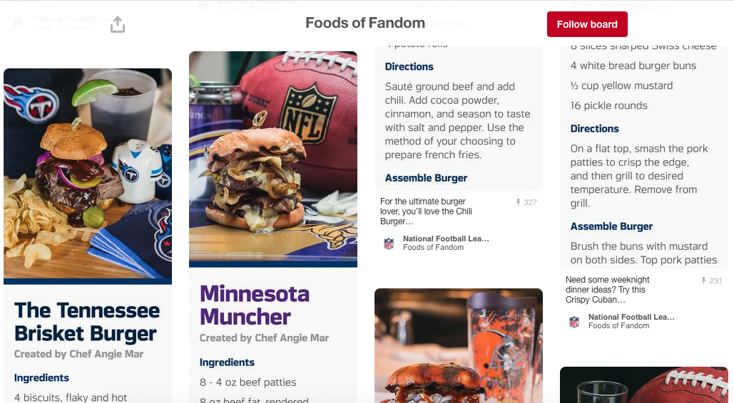 NFL PINTEREST HOMEGATING PHOTOSHOOT- PRODUCTION, TALENT CASTING (CHEF & MIXOLOGIST), COPY EDITING