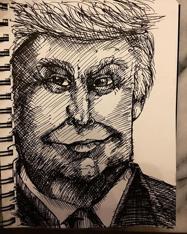 #cruel #inktober #newsketchbook #inktober2018 #sketchbook #pentelhybridtechnica #trumpcartoon #trump