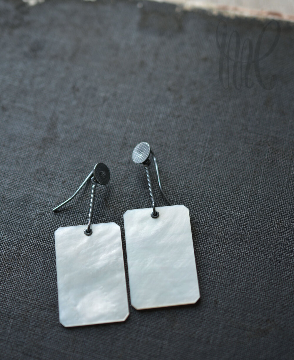 Rectangle Mother of Pearl Cards on oxidised Silver