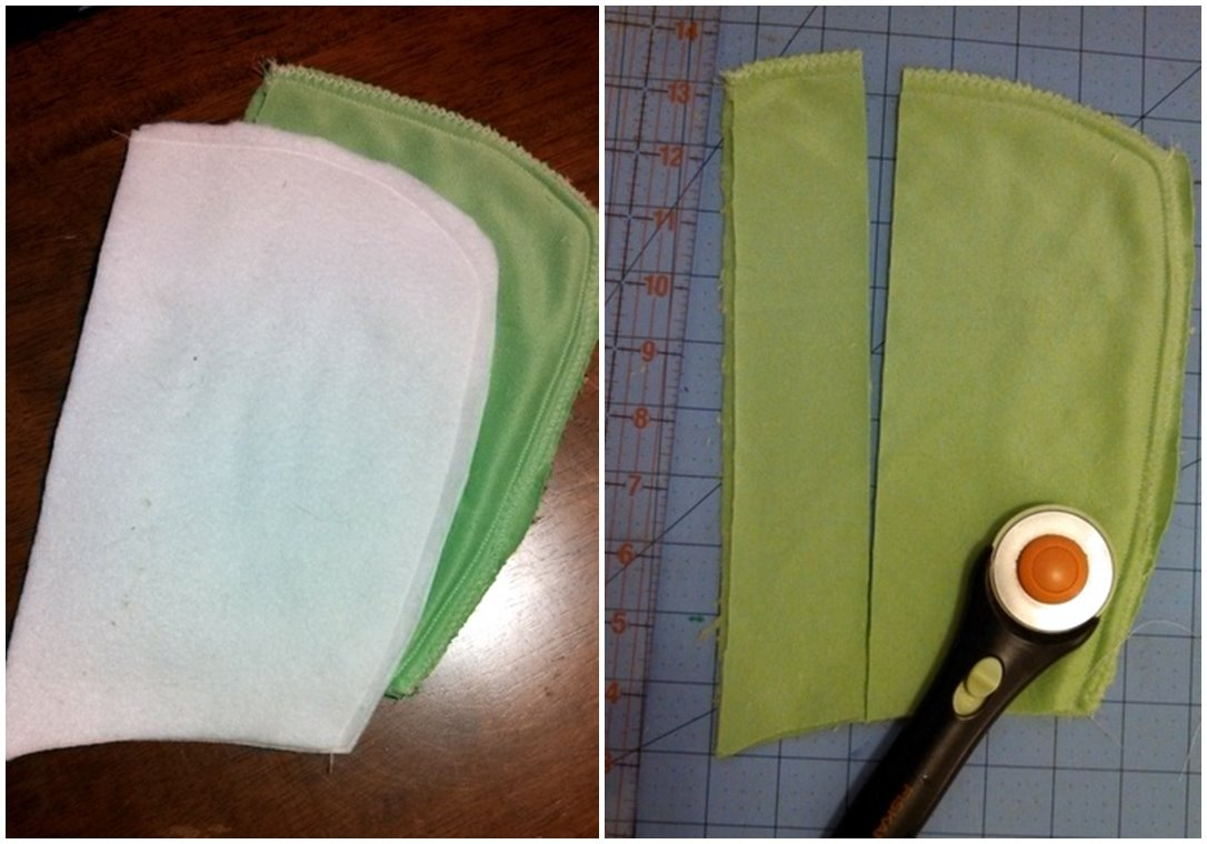 I cut about a 2 inch wide strip from the front of the hood.  If you're sewing larger sizes, you may want to cut a wider strip so the eyes rest on top of the head.