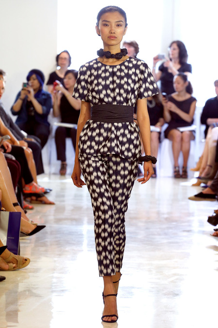 While the trend may have hit big in 2011, they are still showing up on runways for 2014 Source: Josie Natori Spring 2014