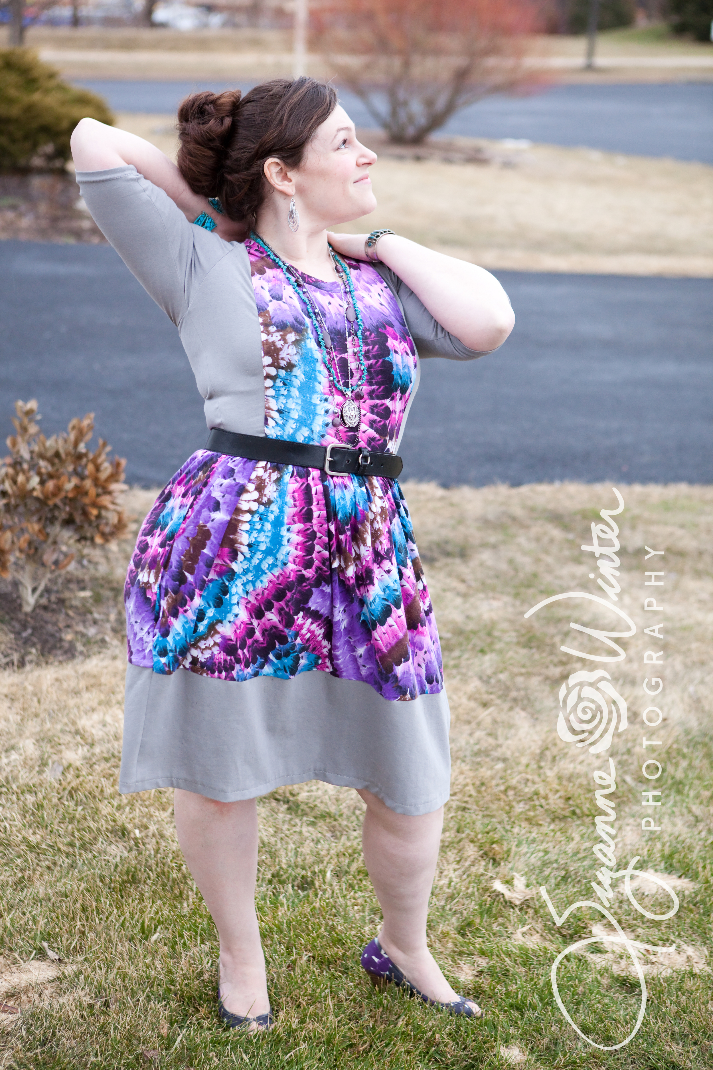 Radiant Orchid, in Girl Charlee Knit & Color-Blocked Sew Caroline Out & About Dress
