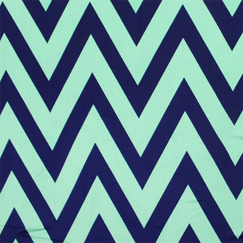 Mint Green and Navy Blue Spandex blend - this color combination is hot for spring and summer. This fun print rocks the ever popular chevron and would look great on this suit.