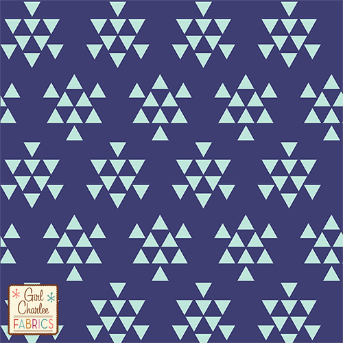 This Mint Green on Navy Triangle Print is a Jersey Cotton/Polly Blend. As you can see Navy&Mint is HUGE! Now this is a 30% stretch fabric, so you will need a coordinate for the bindings. At 7.5-8oz weight, this is a light weight knit perfect for summer.