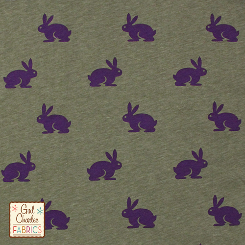 Awww sweet Purple Bunny on Lichen Green - how cute for spring and summer. This again is a 30% stretch knit so perfect for the main body of the dress.