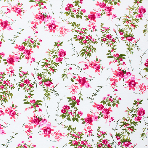 Florals are all the rage this season - and this beautiful Pink Rosey VInes on White Modal print has great color and the white background screams summer. With 2% spandex, it has great recovery and wont stretch out while being worn, and the 9oz weight mean it isn't' going to be see through. Add the ruffle for a sweet summer frock!