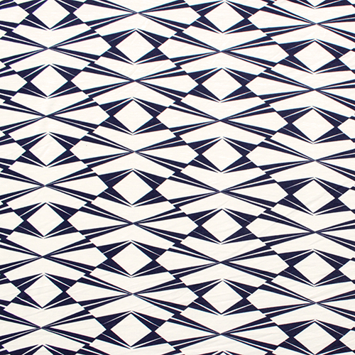 Geometric prints are HUGE - and this navy and white is slightly softer than it's black and white cousin. This would make a perfect beach dress. Once again I love how this bold print gives such a visual statement for this pattern.